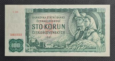 100 Kčs 1961, Vzácná Série C 28 !!! TOP Stav