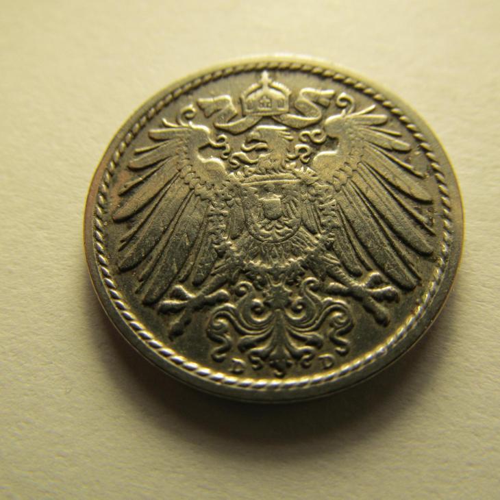 Německo, Kaiser Reich , 5 pfennig z roku 1907 D - Numismatika