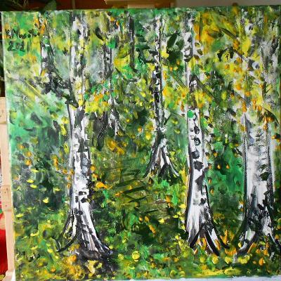 Obraz akryl  originál  autorská malba Podzimní hájek