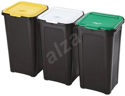 Odpadkový koš Tontarelli 3x45L, na tříděný odpad