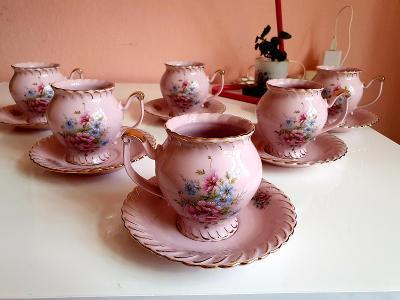 Růžový porcelán h&c,,,6x krásné buclaté hrnek