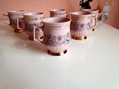 Růžový porcelán h&c,,,6x hrnek