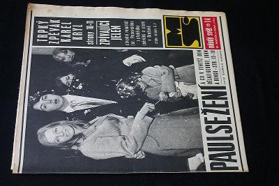 Mladý Svět 14/1969 , Ročník XI. (Perný den Beatles , Karel Kryl) (s14)