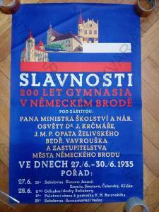 Slavnosti 200 let Gymnasia v Německém Brodě plakát