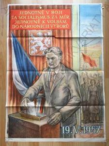 Jednotně boji za socialismus... plakát volby 1957