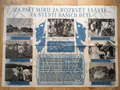 Za pakt míru, za rozkvět vlasti... plakát  1952