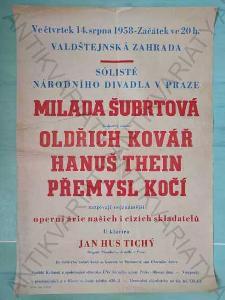 Sólisté Národního divadla v Praze plakát A2 1958