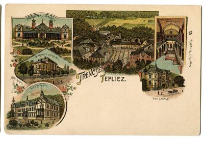Trenčianske Teplice, Trenčín, , litografie,