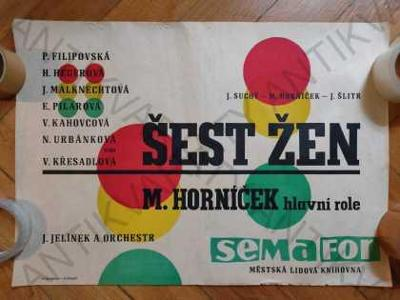 Šest žen - Semafor plakát A2 Suchý Šlitr Horníček