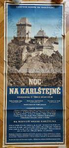 Noc na Karlštejně reklamní plakát divadlo 122x52cm
