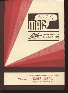 MAG - Továrna chemických papírů a planografie. Reklamn