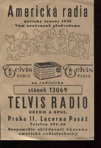 Americká radia. Telvis radio - reklamní leták 1939