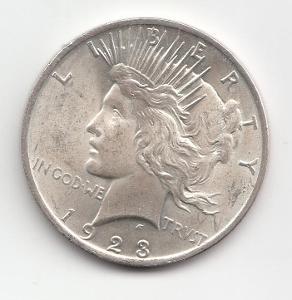 USA, Peace Dollars 1923 Philadelphia,  super stav TOP, od 1 Kč