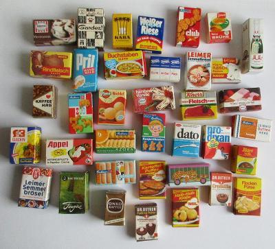 Miniatury potravin do dětského obchůdku