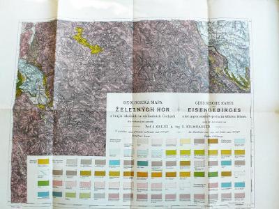 Stará  geologická mapa Železných hor    65  x  50 cm