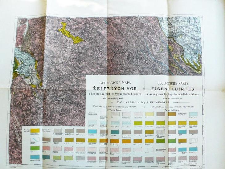 Stará  geologická mapa Železných hor    65  x  50 cm - Antikvariát