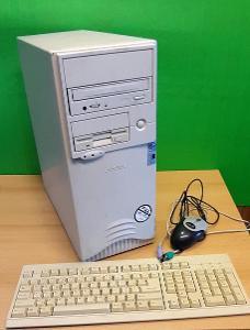 Starý počítač Intel Pentium III, 500 MHz, funkční, Win98, hry + kláv.
