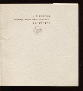 A. B. Kohout oznamuje zahájení svého vydavatelství Žlu