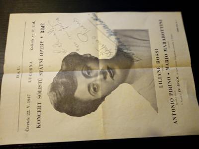 koncert solistu statni operyv řime - lucerna 1947 s podpisy solistu