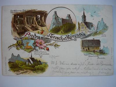Rovensko - Trosky - litografie