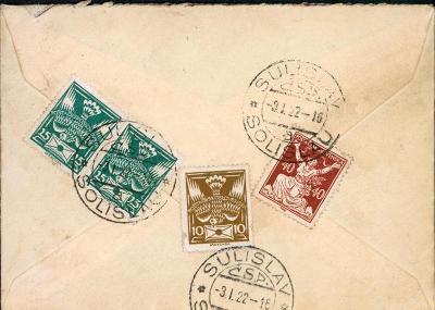10B2867 Dopis Sulislav - Manětín, u zn. 40h o1 lístek více