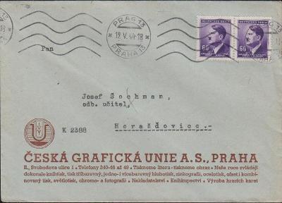 12B446 Dopis Česká grafická unie Praha - Horažďovice, 2-páska