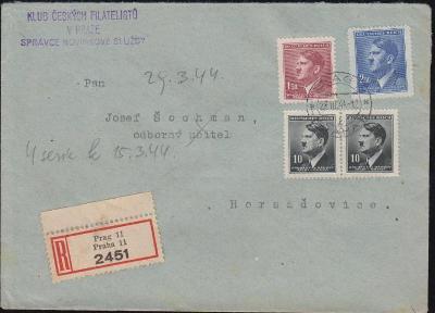 12B447 R dopis Klub českých filatelistů Praha - Horažďovice