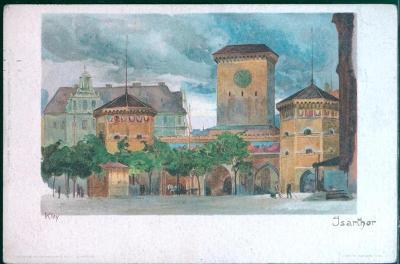 27A1765 Deutschland - München / Mnichov, Isarthor (městská brána)