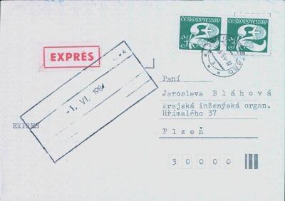 11B382 Expres dopis Stříbro - Plzeň Krajská inženýrská organizace