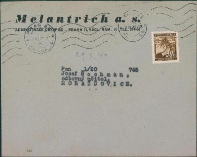 12B501 Firemní obálka Melantrich Praha - Horažďovice