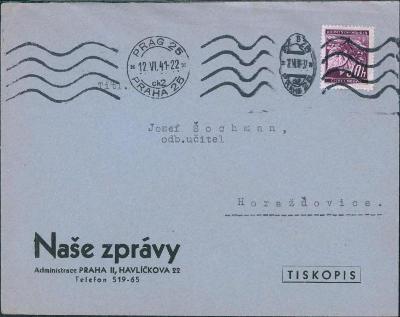 12B502 Firemní obálka Naše zprávy Praha - Horažďovice