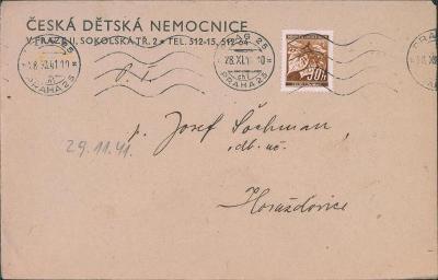 12B504 Dopis Česká dětská nemocnice Praha II - Horažďovice