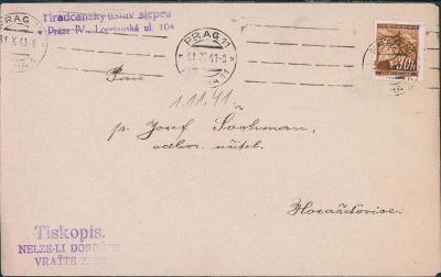 12B514 Dopis Hradčanský ústav slepců Praha - Horažďovice