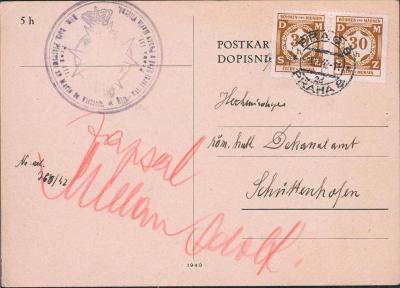 12B524 Lístek, raz. Římsko - katol. úřad Praha Marie Vítězné - Sušice