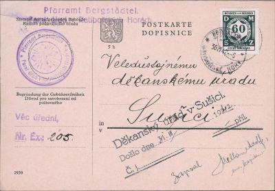 12B526 Lístek farní úřad Ratibořské Hory - děkanský úřad Sušice
