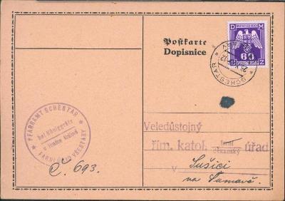 12B532 Lístek farní úřad Všestary - děkanský úřad Sušice