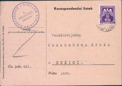 12B561 Služební lístek farní úřad Kováň - děkanský úřad Sušice, známka