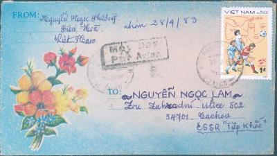 18B23 Dopis - Vietnam /  Tachov , dekorativní frankatura