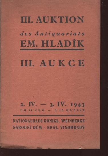 III. knižní aukce - Emanuel Hladík - Knihy