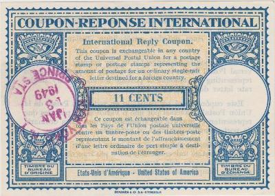 10B1807 ODPOVĚDNÍ KUPON COUPON-REPONSE INTERNATIONAL USA 1949 !