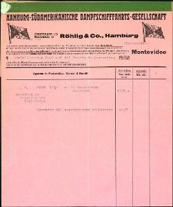 2A75 Lodní nákl. list Röhling + Co. Hamburg - Montevideo, prohláš.  RR