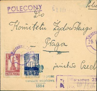 17B1191 Doporučený dopis Warszawa - Praha, cenzura