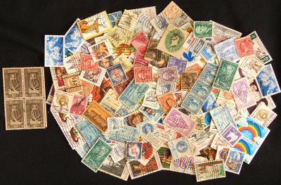 Sbírka známek z USA, prezidenti a další staré známky (1)