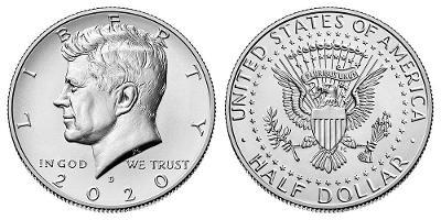 Kennedy Half Dollar 2020 D z bankovního pytle