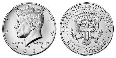 Kennedy Half Dollar 2021 D z bankovního pytle
