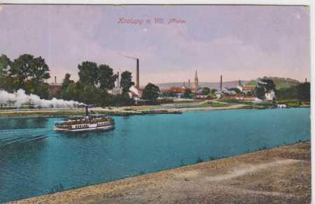 Kralupy nad Vltavou, přístav, parník, kolorovaná