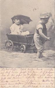 Děti, dívka a chlapec - prošlá 1904