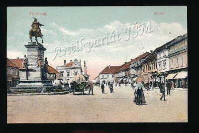 Nymburk K4048 Poděbrady živé náměstí koňský povoz