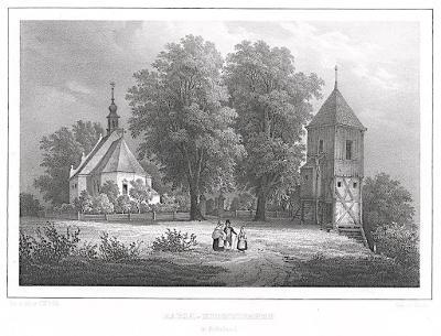 Poděbrady kostel , Semmler, litografie, 1845