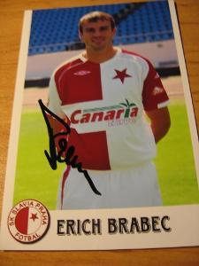 Erich Brabec - Slavia Praha - orig. autogram